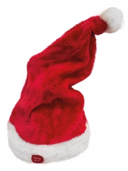 Weihnachtsmütze mit Melodie und Bewegung rot-weiss