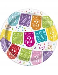 Stilvolle Mexiko-Pappteller Länder und Kulturen 8 Stück bunt 18cm