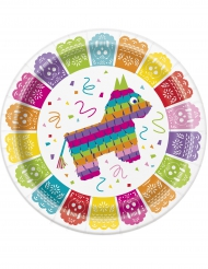 Mexikanische Pappteller mit Lama Piñata bunt 23cm