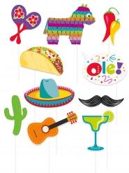 Mexikanisches Fotozubehör-Set Partyspaß 10-teilig bunt