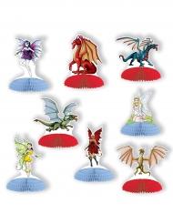 8 Minifiguren Tischdeko Drachen und Feen