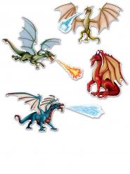 7 Drachen-Figuren Dekoration Karton