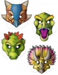 Pappmasken Dinosaurier für Kindergeburtstage 4 Stück bunt