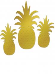 3 Ananas Wanddekorationen Aluminium gold
