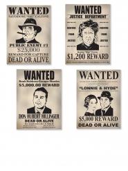 4 Poster im Westernstil Wanted