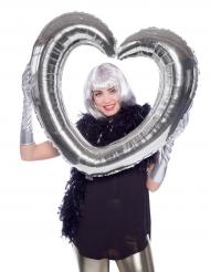 Herz Luftballon silber 70 x 80cm