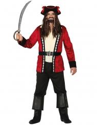 Angriffslustiger Kapitän Piraten-Herrenkostüm rot-weiss-schwarz