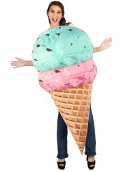 Eiswaffel-Kostüm für Erwachsene blau-rosa-braun