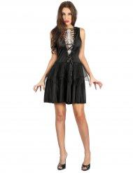 Verruchtes Skelettkostüm für Damen Halloween schwarz
