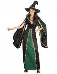 Bezauberndes Hexenkostüm für Damen Zauberin schwarz-grün