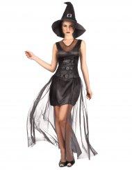 Düsteres Hexenkostüm für Damen Halloween schwarz