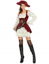 Verführerisches Piratenkostüm für Damen Seefahrerin rot-weiss