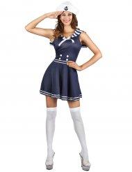 Süsses Matrosen-Kostüm für Damen Seefahrerin blau-weiss