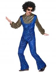 Disco-Verkleidung 70er-Jahre Herrenkostüm blau-gold