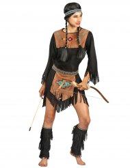 Indianer-Damenkostüm Western-Verkleidung schwarz-braun