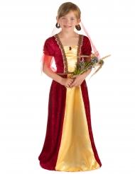 Mittelalterliches-Prinzessinnen Kostüm für Mädchen rot-beige