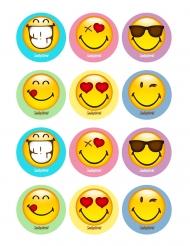 12 Smiley World Dekoelemente aus Zucker für Kekse 5 x 8 cm