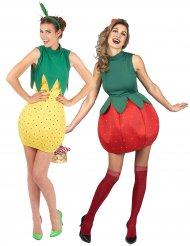 Ananas und Erdbeere Paarkostüm für Damen rot-gelb