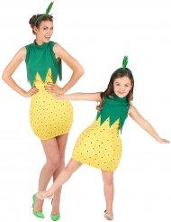 Ananas Paarkostüm für Erwachsene und Kinder rot-gelb