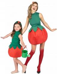 Paarkostüm Erdbeere für Erwachsene und Kinder rot-grün