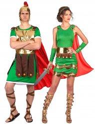 Römer Paarkostüm für Erwachsene grün-gold-rot