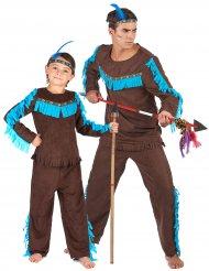 Indianer-Paarkostüm für Erwachsene und Kinder türkis-braun