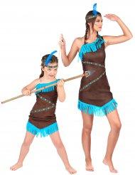 Indianer Paarkostüm für Mutter und Kind türkis-braun