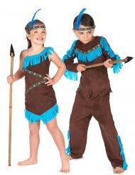 Indianer Paarkostüm für Kinder türkis-braun
