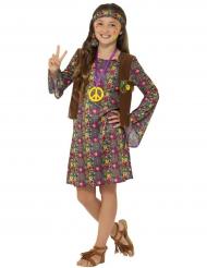 Flower-Power Hippie-Kostüm für Mädchen bunt