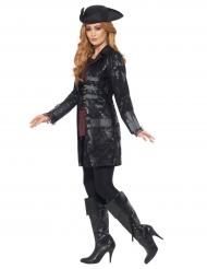 Piraten-Mantel Kostümzubehör schwarz-grau