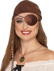 Augenklappe für Damen Satin-Optik Kostümzubehör braun