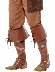 Beinstulpen Lederoptik Piraten-Kostümzubehör braun
