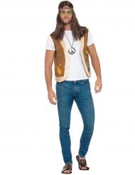 Hippie-Weste Kostümzubehör für Erwachsene braun-bunt