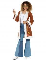 Hippie-Kostümzubehör Mantel braun-weiss