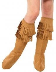 Indianer-Beinstulpen mit Fransen Kostümzubehör braun