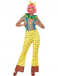 Kunterbuntes Clown Kostüm für Damen gelb