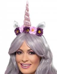 Haarreif mit Einhorn und Blüten violett