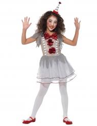 Clownkostüm-Vintage für Mädchen Harlekin weiss-grau-rot