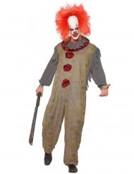 Clown-Herrenkostüm Vintage Zirkus Harlekin Halloween grau-rot