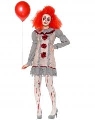 Vintage Clown Damenkostüm grau rot weiss
