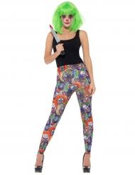 Clown-Leggings Zubehör für Damen Halloween bunt