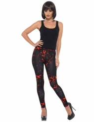 Stilvolle Halloween-Leggings mit Blutflecken schwarz-rot