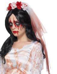Zombie-Schleier Kopfschmuck Halloween weiss-rot