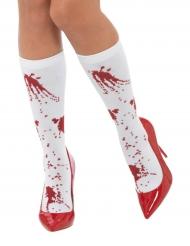 Blutige-Strümpfe Kostüm-Accessoire für Halloween weiss-rot