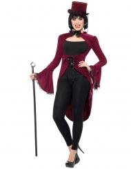 Vampir-Frack für Damen Halloween rot-schwarz