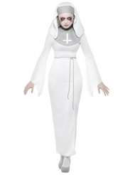 Geister-Nonne Horrorkostüm für Damen Halloween weiss-grau
