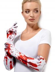 Blutige Handschuhe Kostümzubehör Halloween weiss-rot