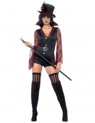 Sexy Vampirlady Damenkostüm Halloween schwarz-rot