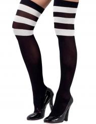 Overknees-Strümpfe Kostümzubehör für Damen schwarz-weiss