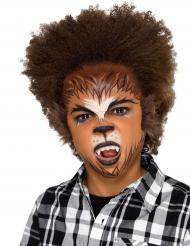 Werwolf-Kinderschminke Halloween-Set 6-teilig braun-schwarz